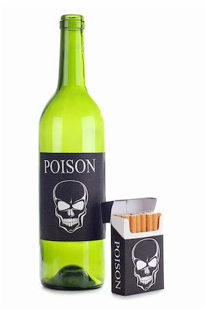 Color photo of a pack of cigarettes and a bottle of wine Stock Photo - Budget Royalty-Free & Subscription, Code: 400-05692436