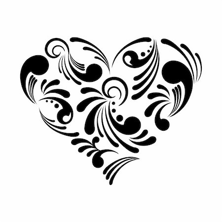 elegant wedding floral graphic - Vector illustration of a beautiful abstract heart isolated on white background Stock Photo - Budget Royalty-Free & Subscription, Code: 400-05692643
