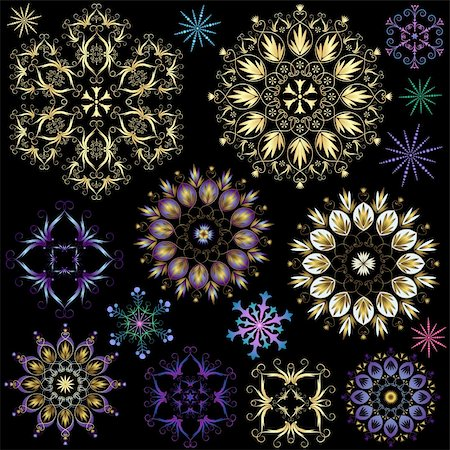 Collection colorful snowflakes on black (vector) Stock Photo - Budget Royalty-Free & Subscription, Code: 400-05692735