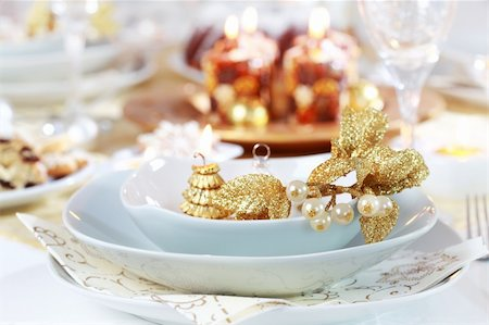 Place setting for Christmas in white tone Stock Photo - Budget Royalty-Free & Subscription, Code: 400-05693120
