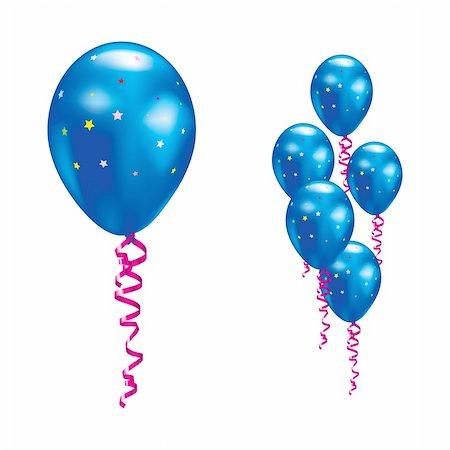 simsearch:400-04369855,k - Navy balloons with stars and ribbons. Vector illustration. Stock Photo - Budget Royalty-Free & Subscription, Code: 400-05693376