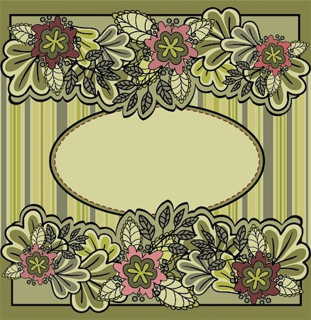 green oval frame with flowers on a striped background Stock Photo - Budget Royalty-Free & Subscription, Code: 400-05693408