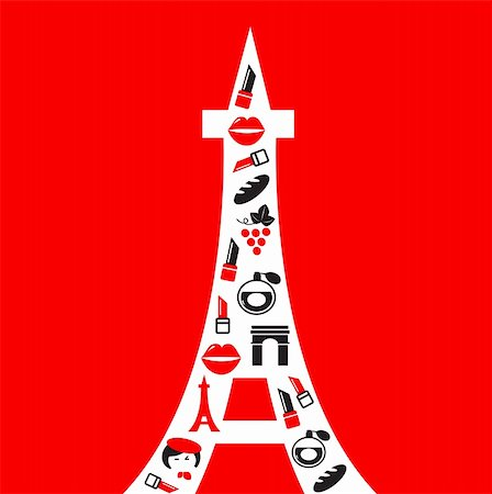 Vibrant Paris Tower in retro style. Vector Illustration. Stock Photo - Budget Royalty-Free & Subscription, Code: 400-05693520