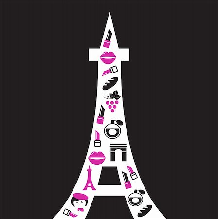 Paris Tower with icons, retro style. Vector Illustration. Stock Photo - Budget Royalty-Free & Subscription, Code: 400-05693521