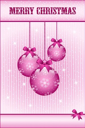Rose pink christmas balls and bows decorated with snowflakes. Stars and snow in the background. Copy space for text. Stock Photo - Budget Royalty-Free & Subscription, Code: 400-05693562