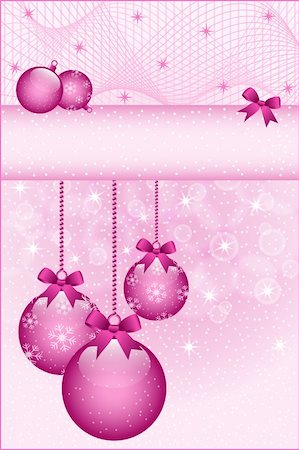 Rose pink christmas balls and bows decorated with snowflakes. Stars and snow in the background. Copy space for text. Stock Photo - Budget Royalty-Free & Subscription, Code: 400-05693563