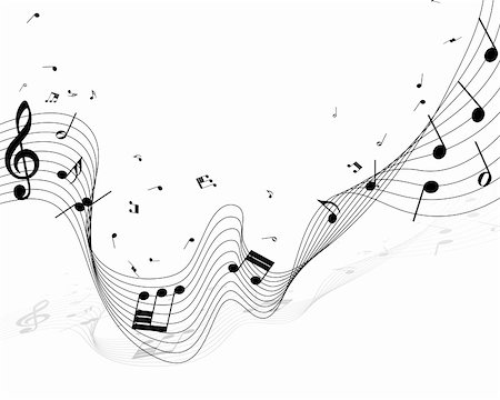 picture of music staff with notes - Vector musical notes staff background for design use Stock Photo - Budget Royalty-Free & Subscription, Code: 400-05693775