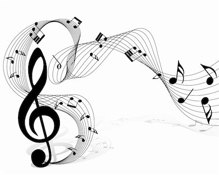 Vector musical notes staff background for design use Stock Photo - Budget Royalty-Free & Subscription, Code: 400-05693776