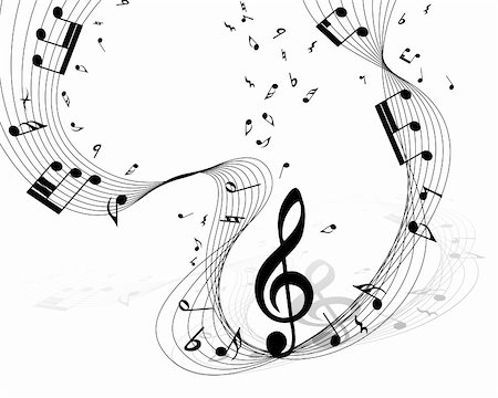 Vector musical notes staff background for design use Stock Photo - Budget Royalty-Free & Subscription, Code: 400-05693777