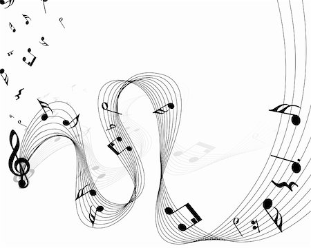 Vector musical notes staff background for design use Stock Photo - Budget Royalty-Free & Subscription, Code: 400-05693779