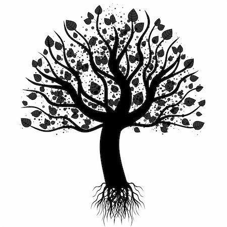 Abstract art tree isolated on white background Stock Photo - Budget Royalty-Free & Subscription, Code: 400-05693992