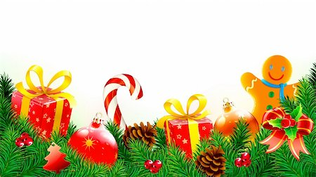 fun happy colorful background images - Vector illustration of Christmas decorative background with evergreen branches, pine cones, gift boxes, candy cane,  Christmas decorations and gingerbread man cookie Stock Photo - Budget Royalty-Free & Subscription, Code: 400-05704307