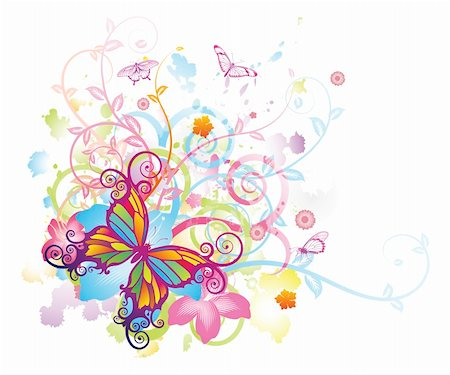 Abstract colourful butterfly background with stylised floral elements, patterns and splashes Stock Photo - Budget Royalty-Free & Subscription, Code: 400-05704637