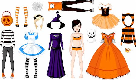 pretty in black clipart - Halloween Paper Doll with different costumes Stock Photo - Budget Royalty-Free & Subscription, Code: 400-05704746