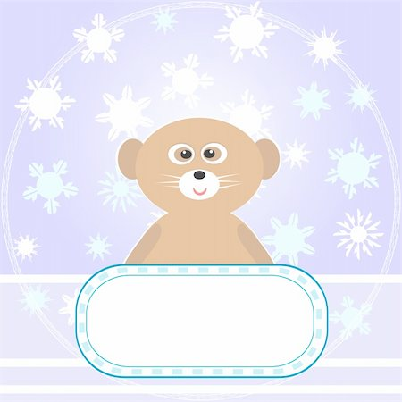 simsearch:400-04598294,k - Baby Bear greetings card with snowflakes and empty blank Vector Stock Photo - Budget Royalty-Free & Subscription, Code: 400-05704800