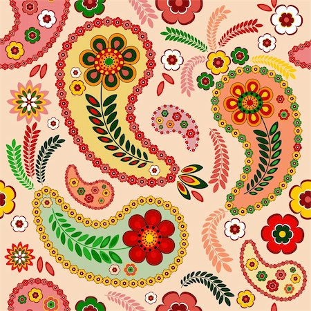 Gentle pink seamless pattern with paisley and flowers (vector) Stock Photo - Budget Royalty-Free & Subscription, Code: 400-05704947