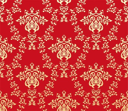 Damask seamless vector pattern.  For easy making seamless pattern just drag all group into swatches bar, and use it for filling any contours. Stock Photo - Budget Royalty-Free & Subscription, Code: 400-05704965