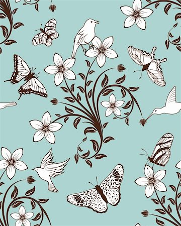 Seamless vector floral pattern. For easy making seamless pattern just drag all group into swatches bar, and use it for filling any contours. Stock Photo - Budget Royalty-Free & Subscription, Code: 400-05704967