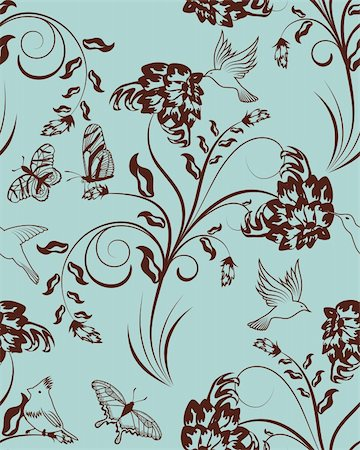 simsearch:400-04765926,k - Seamless vector floral pattern. For easy making seamless pattern just drag all group into swatches bar, and use it for filling any contours. Stock Photo - Budget Royalty-Free & Subscription, Code: 400-05704968