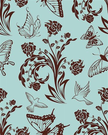 simsearch:400-04765926,k - Seamless vector floral pattern. For easy making seamless pattern just drag all group into swatches bar, and use it for filling any contours. Stock Photo - Budget Royalty-Free & Subscription, Code: 400-05704969