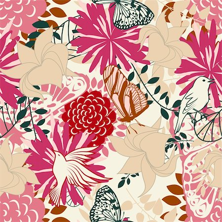 simsearch:400-04765926,k - Seamless vector floral pattern. For easy making seamless pattern just drag all group into swatches bar, and use it for filling any contours. Stock Photo - Budget Royalty-Free & Subscription, Code: 400-05704974