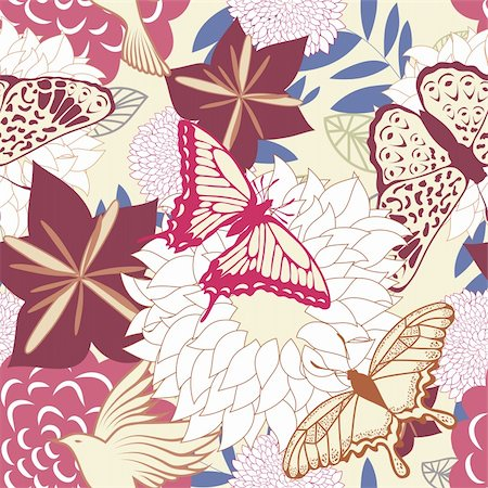 simsearch:400-04765926,k - Seamless vector floral pattern. For easy making seamless pattern just drag all group into swatches bar, and use it for filling any contours. Stock Photo - Budget Royalty-Free & Subscription, Code: 400-05704975