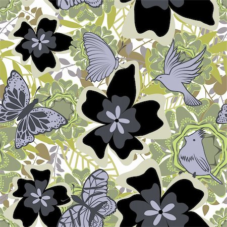 Seamless vector floral pattern. For easy making seamless pattern just drag all group into swatches bar, and use it for filling any contours. Stock Photo - Budget Royalty-Free & Subscription, Code: 400-05704977