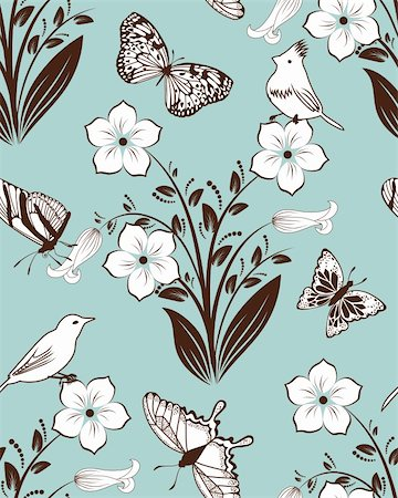 Seamless vector floral pattern. For easy making seamless pattern just drag all group into swatches bar, and use it for filling any contours. Stock Photo - Budget Royalty-Free & Subscription, Code: 400-05704970