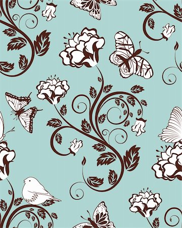 simsearch:400-04765926,k - Seamless vector floral pattern. For easy making seamless pattern just drag all group into swatches bar, and use it for filling any contours. Stock Photo - Budget Royalty-Free & Subscription, Code: 400-05704972