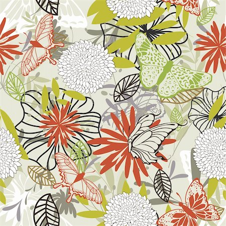 simsearch:400-04765926,k - Seamless vector floral pattern. For easy making seamless pattern just drag all group into swatches bar, and use it for filling any contours. Stock Photo - Budget Royalty-Free & Subscription, Code: 400-05704973