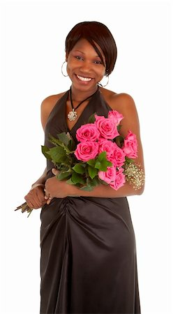 dozen roses - An happy african american woman is posing with her roses. Stock Photo - Budget Royalty-Free & Subscription, Code: 400-05705060