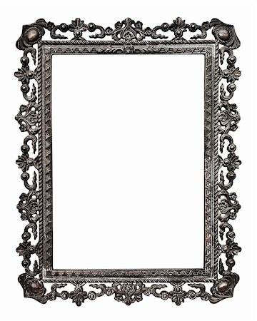 Old metallic picture frame  (No#13), isolated on white background (detailed clipping paths included,  selection made using pen tool at 200%-300%view) Stock Photo - Budget Royalty-Free & Subscription, Code: 400-05705274