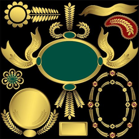 Collection golden elements and frames for design on black background (vector) Stock Photo - Budget Royalty-Free & Subscription, Code: 400-05705416