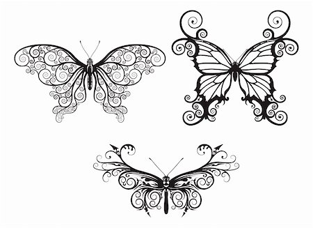 Illustrations of stylised abstract butterflies with patterns and swirls making up wings Stock Photo - Budget Royalty-Free & Subscription, Code: 400-05705448