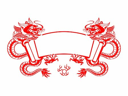 snake skin - Chinese New Year red mighty dragons scroll isolated Stock Photo - Budget Royalty-Free & Subscription, Code: 400-05705869
