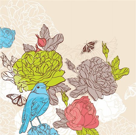 abstract lovely vector floral card with bird Stock Photo - Budget Royalty-Free & Subscription, Code: 400-05706264