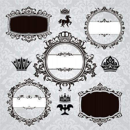 set of royal frames and vintage design elements Stock Photo - Budget Royalty-Free & Subscription, Code: 400-05706285