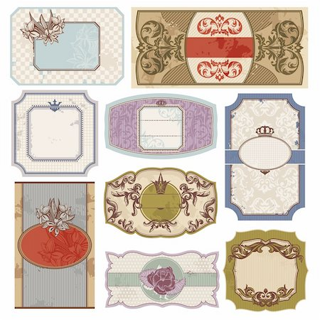 set of retro vintage labels vector illustration Stock Photo - Budget Royalty-Free & Subscription, Code: 400-05706334