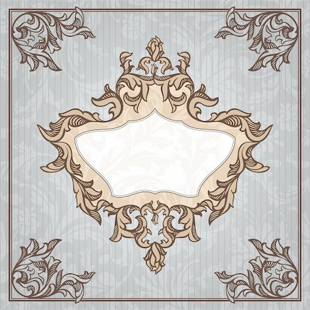 abstract retro vintage floral frame vector illustration Stock Photo - Budget Royalty-Free & Subscription, Code: 400-05706345
