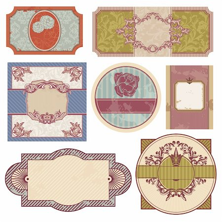 set of retro vintage labels vector illustration Stock Photo - Budget Royalty-Free & Subscription, Code: 400-05706347