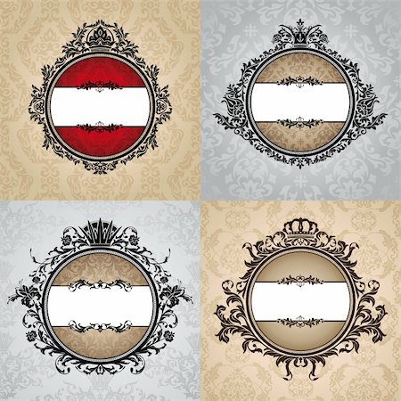 set of abstract vector royal vintage frames Stock Photo - Budget Royalty-Free & Subscription, Code: 400-05706355