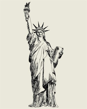 Statue of Liberty. Vector sketch illustration for design use. Stock Photo - Budget Royalty-Free & Subscription, Code: 400-05706587