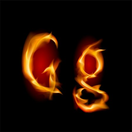 smoke magic abstract - Fiery font. Letter G. Illustration on black background Stock Photo - Budget Royalty-Free & Subscription, Code: 400-05706784