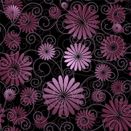 Black and violet seamless floral pattern with flowers and curls (vector) Stock Photo - Budget Royalty-Free & Subscription, Code: 400-05706871