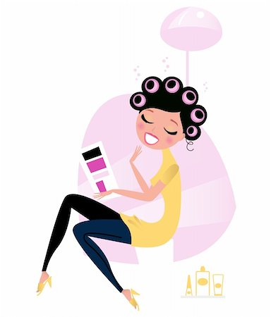 retro beauty salon images - Cute beautiful female sitting in hair salon and reading magazine. Vector cartoon illustration. Stock Photo - Budget Royalty-Free & Subscription, Code: 400-05706910
