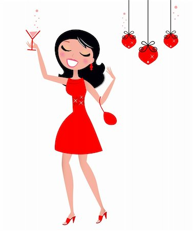 Cute Woman holding Glass of Martini or Cocktail. Vector retro illustration. Stock Photo - Budget Royalty-Free & Subscription, Code: 400-05706997