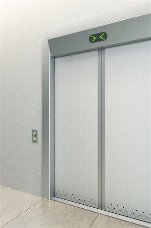 modern elevator with closed doors Stock Photo - Budget Royalty-Free & Subscription, Code: 400-05707195