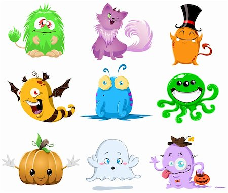 A vector illustration of cute funny and scary monsters for Halloween. Stock Photo - Budget Royalty-Free & Subscription, Code: 400-05707843