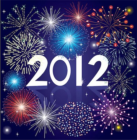 vector illustration of 2012 fireworks Stock Photo - Budget Royalty-Free & Subscription, Code: 400-05708034