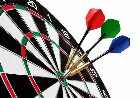 Colorful darts hitting a target, isolated on white Stock Photo - Budget Royalty-Free & Subscription, Code: 400-05709211
